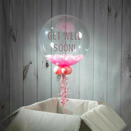 Get Well Soon Personalised Feather Bubble Balloon