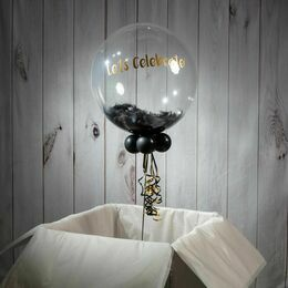 Graduation Personalised Feather Bubble Balloon