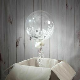Personalised White Confetti Christmas Bubble Balloon