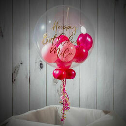 Personalised Dark Pink Balloon-Filled Bubble Balloon