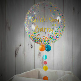 Personalised \'Get Well Soon\' Rainbow Confetti Print Bubble Balloon