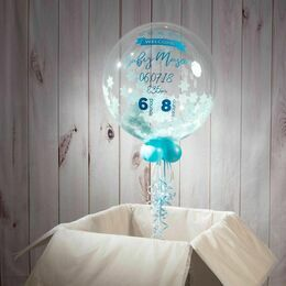 \'Welcome Baby Boy\' Personalised Blue Star Confetti Balloon
