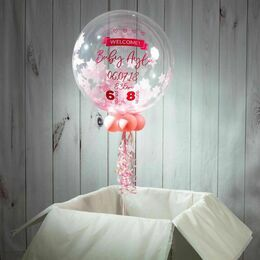 \'Welcome Baby Girl\' Personalised Pink Star Confetti Balloon