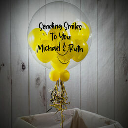 Personalised Smiley Faces Balloon-Filled Bubble Balloon