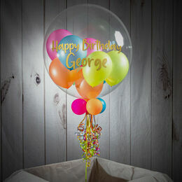 Personalised Neon Party Balloon-Filled Bubble Balloon