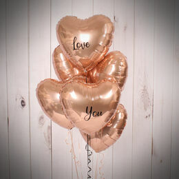 Half Dozen Inflated Rose Gold Heart Foil Balloons