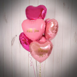 Half Dozen Inflated Shades of Pink Heart Foil Balloons