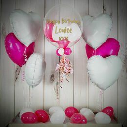 Pink & White Hearts Balloon Package