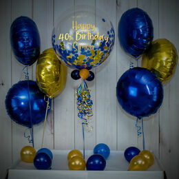 Navy Blue & Gold Confetti Balloon Package