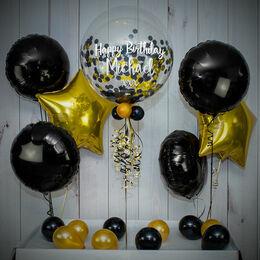 Black & Gold Confetti Balloon Package