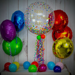 Rainbow Confetti Print Balloon Package