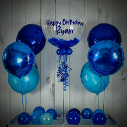 Royal Blue Feathers Balloon Package