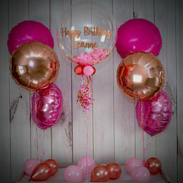 Rose Gold & Pink Feathers Balloon Package