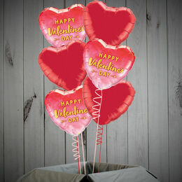 \'Happy Valentine\'s Day\' Red Hearts Foil Balloon Package
