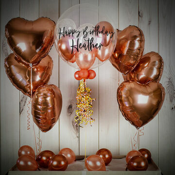 Rose Gold Hearts Balloon Gift Package