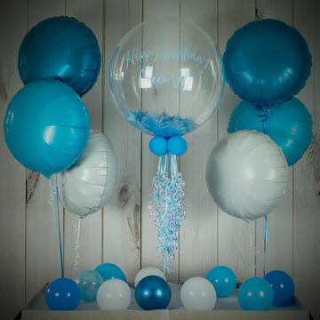 Baby Blue Feathers Balloon Package