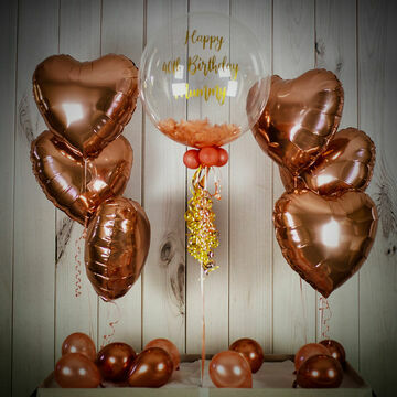 Rose Gold Feathers Balloon Package