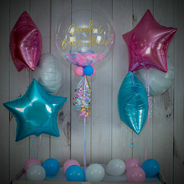 Blue, Pink & White Feathers Balloon Package