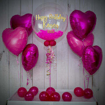 Shocking Pink Feathers Balloon Package
