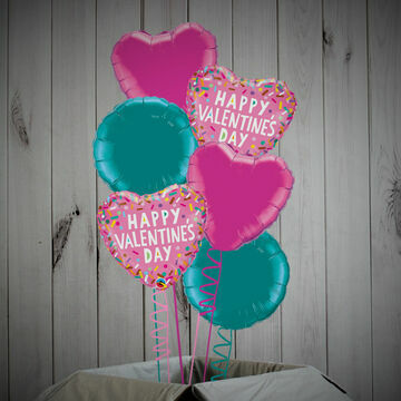 \'Happy Valentine\'s Day\' Pink & Turquoise Foil Balloon Package