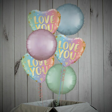 \'Love You\' Pastel Foil Balloon Package