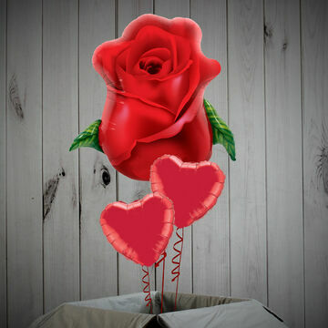 Giant Rose & Foil Hearts Balloon Package