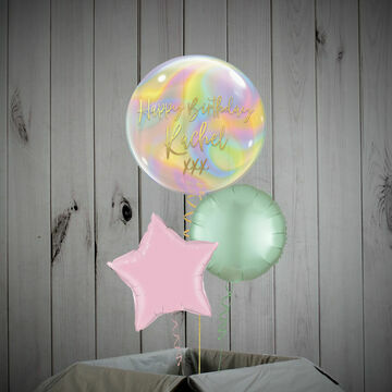 Iridescent Pastel Swirls Printed Bubble Balloon Package