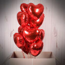 One Dozen Inflated Red Heart Foil Balloons additional 2