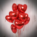 One Dozen Inflated Red Heart Foil Balloons additional 3