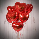 One Dozen Inflated Red Heart Foil Balloons additional 1