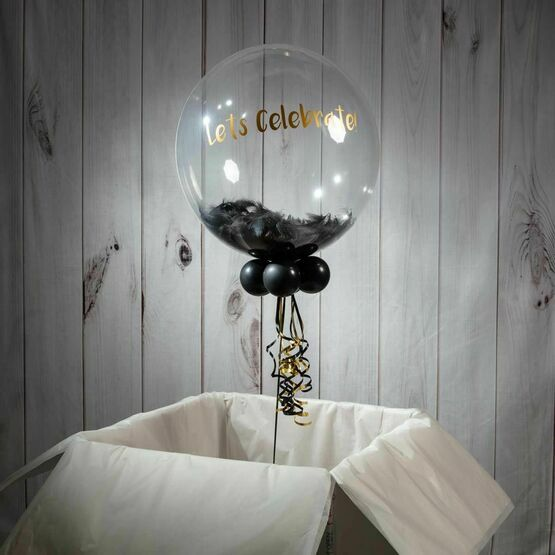 Personalised Black Feathers Bubble Balloon