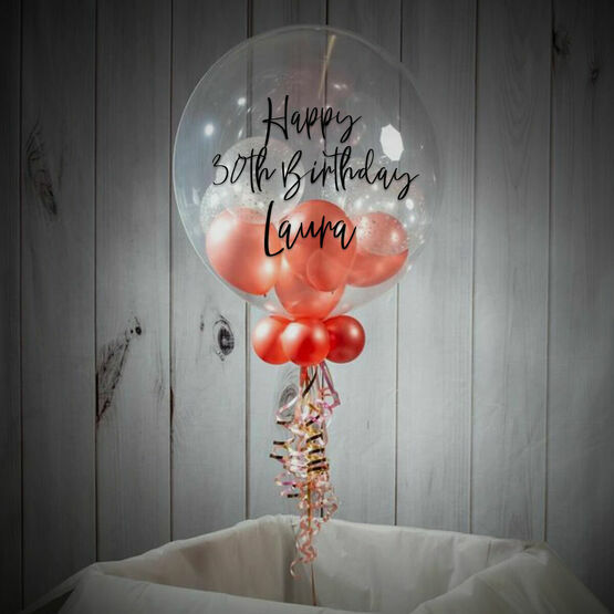 Personalised Rose Gold Balloon-Filled Bubble Balloon
