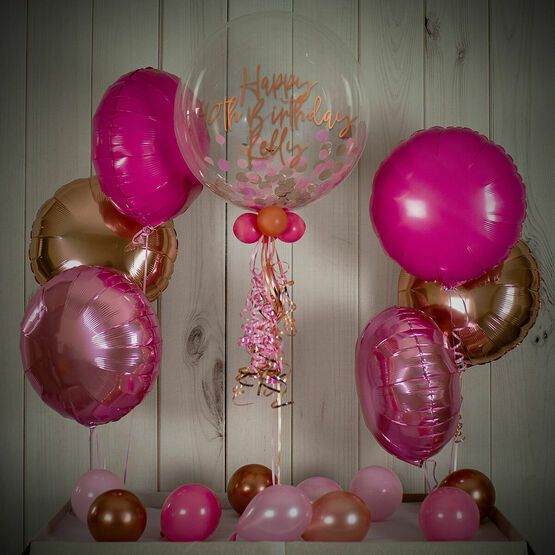 Rose Gold & Pink Confetti Balloon Package
